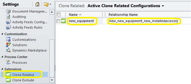 active clone related config