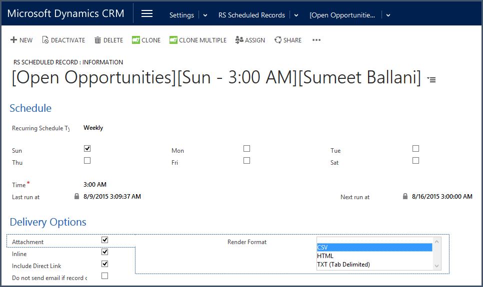 report scheduler crm view